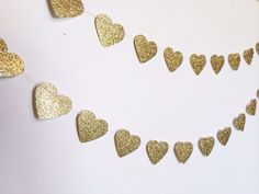 Perfect Gold Accent   Gold+Glitter+Heart+Paper+Garland+by+SimplyScissors+on+Etsy,+$11.00
