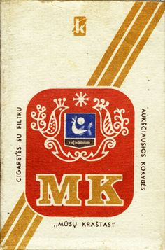 <b>MK Musu Krastas Cigarettes su filtru Auksciausios kokybes</b><br><br><i>Sold in</i> USSR-Lithuania <br><i>Made in</i> USSR-Lithuania in 70th year <br><i>Producer</i>: Kaunas Tobacco Factory Kova<br><i>Trade Mark Owner</i>: Kaunas Tobacco Factory Kova<br><i>Size height/width/depth (mm)</i>: 84/55/22<br><i>Open type</i>: v<br><i>Previous owner</i>: Siegl Norbert<br><i>Condition</i>: 3D-form<br><b>DOUBLES AVALIABLE</b>: NO