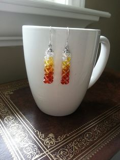 Swarovski Indian red, topaz, light topaz and crystal ab colors Ombre Earrings by SparklingYouDesigns on Etsy