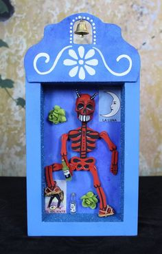 Dias de los Muertos Red Devil Skeleton Relicario Wooden Niche Mexican Folk Art