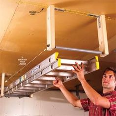 Out-of-the-way ladder storage. Build two identical brackets, then screw them both to ceiling joists with 1/4 x 2-in. lag screws. Space the brackets so the ladder will extend at least 1 ft. beyond the end of each one. Genius.
