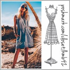 Chambray Shirt/Shift Dress Tried and true fave light indigo chambray sleeveless denim shirt/shift dress with removable belt. Always a go to favorite staple for any closet. Size S, M, L Threads & Trends Dresses