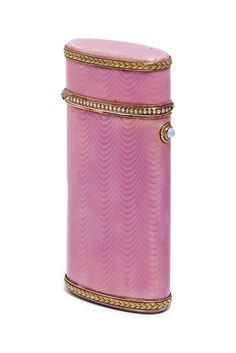A JEWELLED TWO-COLOUR GOLD-MOUNTED GUILLOCHÉ ENAMEL CIGARETTE CASE MARKED FABERGÉ, WITH THE WORKMASTER'S MARK OF HENRIK WIGSTRÖM, ST PETERSBURG, 1908-1917, SCRATCHED INVENTORY NUMBER 21849.   | Christie's