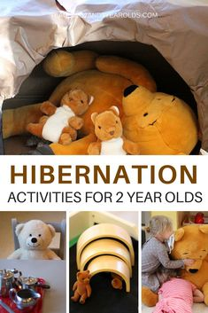 We use lots of hands-on activities while teaching our 2 year olds about animals that hibernate. A cave they can actually crawl into, caves they can build with arch blocks, bears and loose parts in the sensory bin. It creates a very meaningful environment that they love! #winter #hibernation #bears #themes #toddlers #toddlerclassroom #dramaticplay #toddleractivities #AGE2 #teaching2and3yearolds