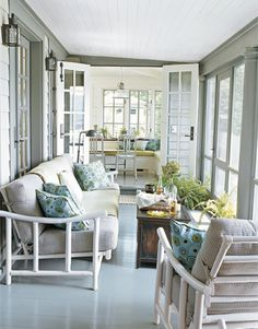 Connecticut Lake Cottage - Narragansett Green was used for the porch's trim and floor, and Stonington Gray was used for the ceiling.