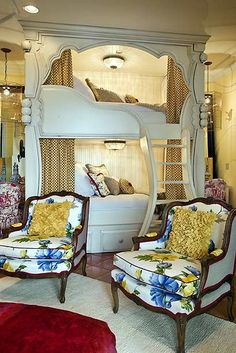 Beautiful charming sophisticated bunk bed room - Design Dazzle How does this compare to the Moroccan beds? Maybe we could meld these two ideas together and keep the Moroccan feel it could give us enough room for both our beds and our own space but still leave room for the office space!