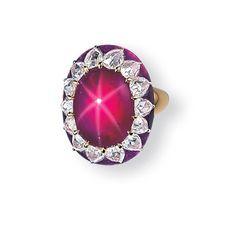 SUPERB STAR RUBY, DIAMOND AND PINK TOURMALINE RING