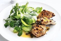 Spiced-baked chicken with tzatziki salad