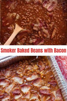 Baked Beans on the smoker is an easy side dish for all your spring and summer barbecues! Topped with bacon, this classic recipe is the BEST and is the perfect pair to any smoked meat. Crock Pot Recipes, Baked Bean Recipes, Chef Recipes, Rub Recipes, Easy Meat Recipes, Smoker Grill Recipes, Smoker Cooking, Barbecue Recipes, Grill With Smoker
