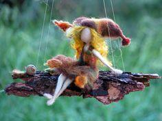 Needle felted mobile Waldorf inspired art doll fall fairy on bark Waldorf Crafts, Waldorf Dolls, Wet Felting, Needle Felting, Autumn Fairy, Felt Fairy, Flower Fairies, Fairy Dolls, Felt Dolls