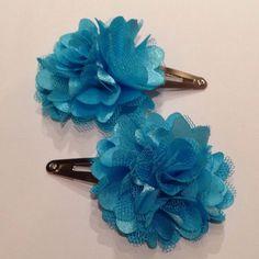 Blue Turquoise Pom Pom Flower Mesh Satin Tulle Hair Snap Clip on Etsy, $6.00