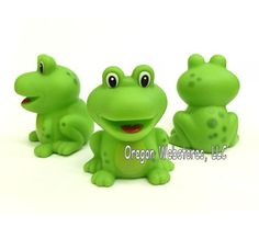 """This little green frog is as cute as cute can be! These adorable frogs are made from soft rubbery vinyl with a small hole in the bottom which makes for a nice gentle squeak when you squeeze them. They have big smiles with a heart shaped tongue.     You get a bag of a dozen green frogs!     Great for party favors, bath time, or just as a little frog gift for special events! They look especially nice as a frog decorations for a birthday cake or even a wedding cake.     Size: about 2"""" tall…"""