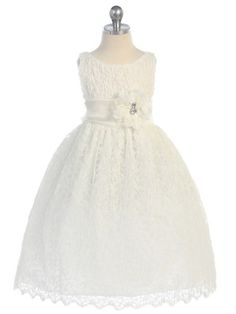 Ivory Sleeveless Lace Tea Length Flower Girl Dress (Sizes Infant to 12 in 2 Colors) - Flower Girl Dresses - GIRLS