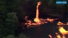Im US-Bundesstaat Kentucky ist es nach einem Unwetter zu einer Verkettung unglücklicher Umstände gekommen. Nach einen Blitzschlag flossen Millionen Liter Whiskey in einen See und gerieten in Flammen. Ein Feuertornado setzte die angrenzenden Bäume in Brand. Quelle: WeatherChannel