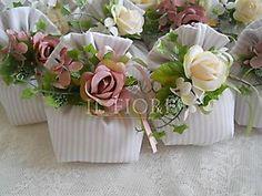 Bomboniera Shabby Chic matrimonio - comunione sacchetto con fiorii cod. 286E
