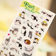 6 pcs/set Novelty Cats Cartoon Animals Sticker PVC Cartoon Stickers Diary Sticker Scrapbook Decoration PVC Stationery Stickers