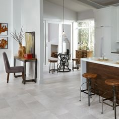 Mannington Adura Luxury Vinyl Tile Flooring - Company has planks and tiles in same colour, Porcelain, which allows you to create a transition or pattern. Interesting.