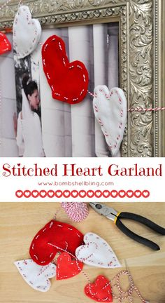 Stitched Heart Garland by Bombshell Bling Featured on #OMHGWW