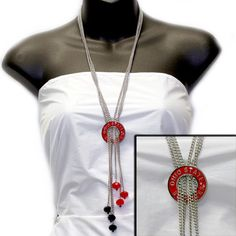 Ohio State Buckeyes Multi Strand w/Crystal Bead Necklace - Ohio State Buckeyes - Collegiate Jewelry & Handbags