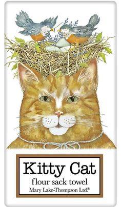 Orange Tabby Cat with Bird Nest 100% Cotton Flour Sack Dish Towel Tea Towel