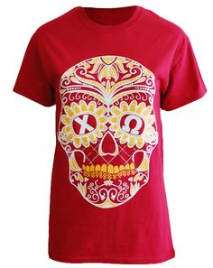 "Chi Omega Skull Bid Day Tee by Adam Block Design | Custom Greek Apparel & Sorority Clothes | www.adamblockdesign.com"""