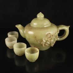 A Set Chinese Hetian Jade Low Relief Teapot & Cups