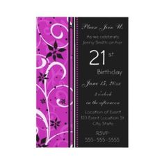 Pink and Black Swirly 21st Birthday Invitation See more at http://www.zazzle.com/jaclinart_birthday?rf=238387211962446835=zBookmarklet