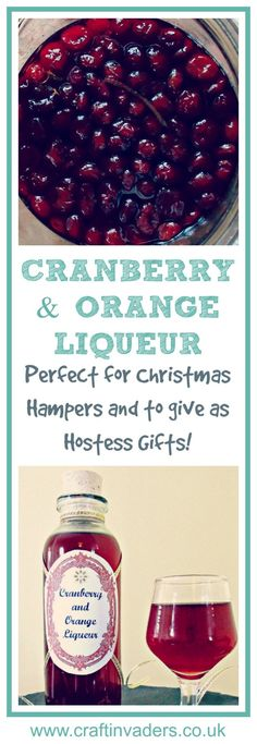 Cranberry and Orange Liqueur. This super easy recipe using the classic combination of Cranberry and Oranges makes a delicious home made gift Perfect for Christmas Hampers or to take along to a party as a hostess gift! - Hampers - Ideas of Hampers Cranberry Recipes, Holiday Recipes, Christmas Food Gifts, Christmas Hamper Ideas Homemade, Christmas Ideas, Christmas Cocktails, Christmas Cards, Food Hampers, Xmas