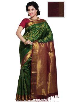 green and gold pattu saree