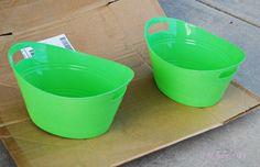Turn plastic Dollar Store tubs into galvanized buckets