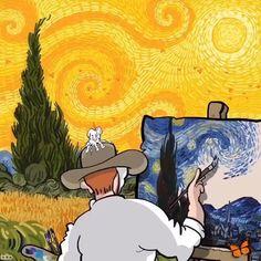 Artist Beautifull illustrates Vincent Van Gogh In His Illustrations Vincent Van Gogh, Van Gogh Tapete, Van Gogh Wallpaper, Van Gogh Sunflowers, Japon Illustration, Creative Illustration, Van Gogh Art, Van Gogh Paintings, Halloween Painting
