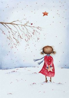 Christmas girl The post Christmas girl appeared first on Woman Casual - Drawing Ideas Watercolor Christmas Cards, Christmas Drawing, Christmas Paintings, Watercolor Cards, Christmas Art, Watercolor Paintings, Christmas Pictures To Draw, Watercolour, Art And Illustration