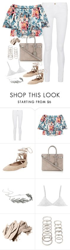 """Untitled#4356"" by fashionnfacts ❤ liked on Polyvore featuring Frame Denim, Elizabeth and James, Schutz, Yves Saint Laurent, Jennifer Behr, Bobbi Brown Cosmetics and Forever 21"