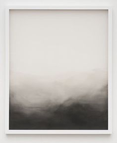 ink wash painting or an abstract black and white landscape in simple white frame...  Dramatic and yet soft.: