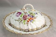 FABULOUS OLD DRESDEN BAVARIA CHINA GILT COVERED BUTTER DISH SERVER GOLD FLORAL