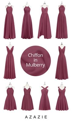 Luxe chiffon gowns in this rich berry color is romantic and elegant! Order color swatches to see the colors in our various fabrics for easy wedding planning!