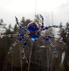 Venetian Glass - Beaded Christmas Spider Ornament & Legend – Blue with Gold Foil
