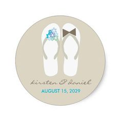 673972c7cde0c8 Mr   Mrs Blue Flip Flops Beach Wedding Sticker