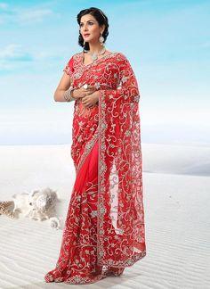 Brilliant Red Net Saree
