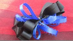 Bow Hair Bow Black and Blue Barrette Black by handmadeclosetloft