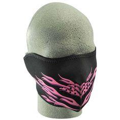 Half Pink Black Flame Neoprene Face Mask 4e95d068f6