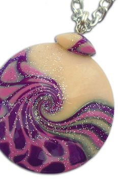 Handmade polymer clay pendant with chain. https://www.etsy.com/listing/477854398/handmade-violet-pendant-violet-pendant