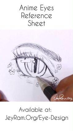 Anime Eye Drawing Reference : Female Manga Anatomy Use this character design re. - Anime Eye Drawing Reference : Female Manga Anatomy Use this character design reference for your fe - Anime Drawings Sketches, Anime Sketch, Manga Drawing, Art Drawings, Drawing Faces, Shading Drawing, Drawing Designs, Character Design Challenge, Character Design References