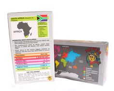 """The MENZO travel cards contain 78 cards representing 78 different countries, an instruction card and a """"Create your bucket list"""" card.  Each card covers: the name of the country, capital city, placement on the map, flag, currency, languages spoken, 6 statistics, a couple of facts about each specific country and a """"Did you know fact"""" about the world and its workings."""