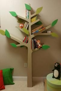 TREE BOOKSHELF WITH SHELF BRACKETS EASY Nursery Pinterest - Corner tree bookshelf