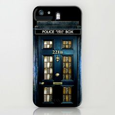 Tardis doctor who Mashup with sherlock holmes 221b door apple iPhone 4 4s, 5 5s 5c, iPod & samsung galaxy s4 case by Three Second