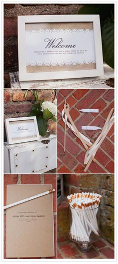 """A cute sign and a neat idea - ribbon wands AND kazoos to bid the happy couple """"just married""""!"""