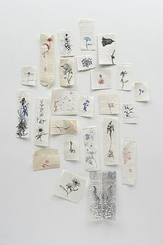 Jim Hodges, A Diary of Flowers in Love, 1996, ink on paper napkins