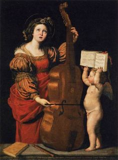 Saint Cecilia [with an Angel Holding a Musical Score] (c.1617-1618). Domenichino (1581–1641). Oil on canvas. Louvre.