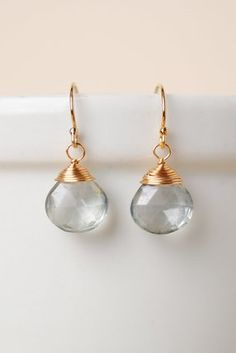 Irish017E unique handcrafted designer artisan crystal briolette gold filled wire simple dangle earrings for women